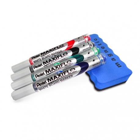 Zestaw 4 markerów Pentel + ścierak magnetyczny.